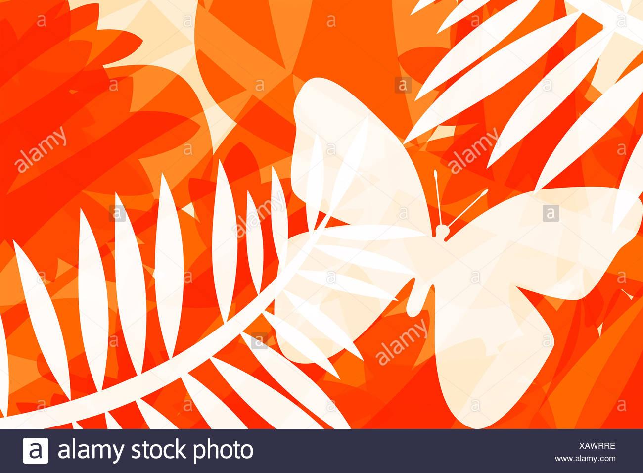 Abbildung der Schmetterlinge und Blätter Stockbild
