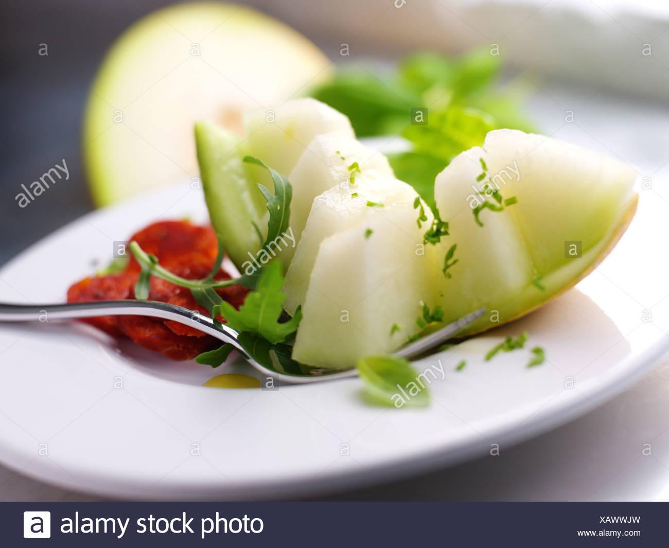 Melone und Chorizo Stockbild