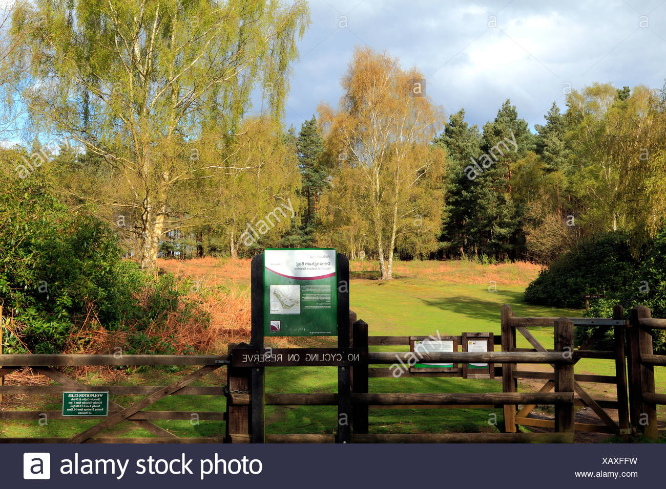 Ihre Moor, Norfolk, Eingang zur Natur reserve, Natural England Website Websites UK Reserven Stockbild