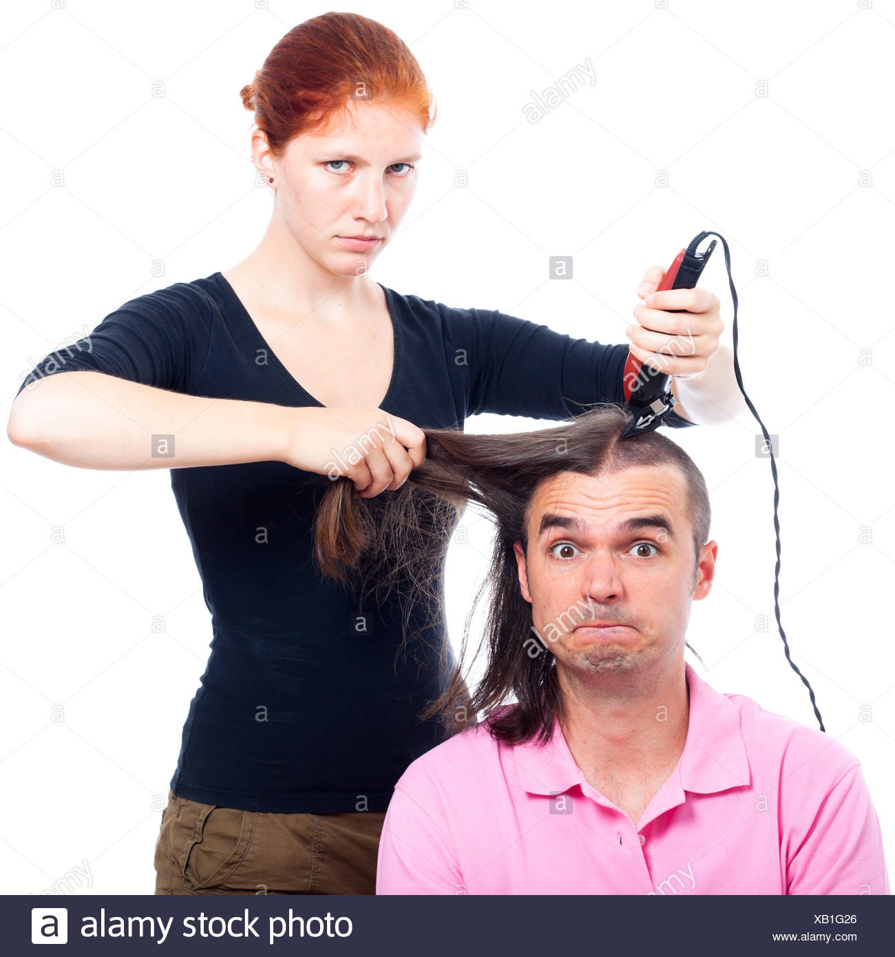 Lustig Verruckt Friseur Haarschnitt Haare Mann Frau Mensch