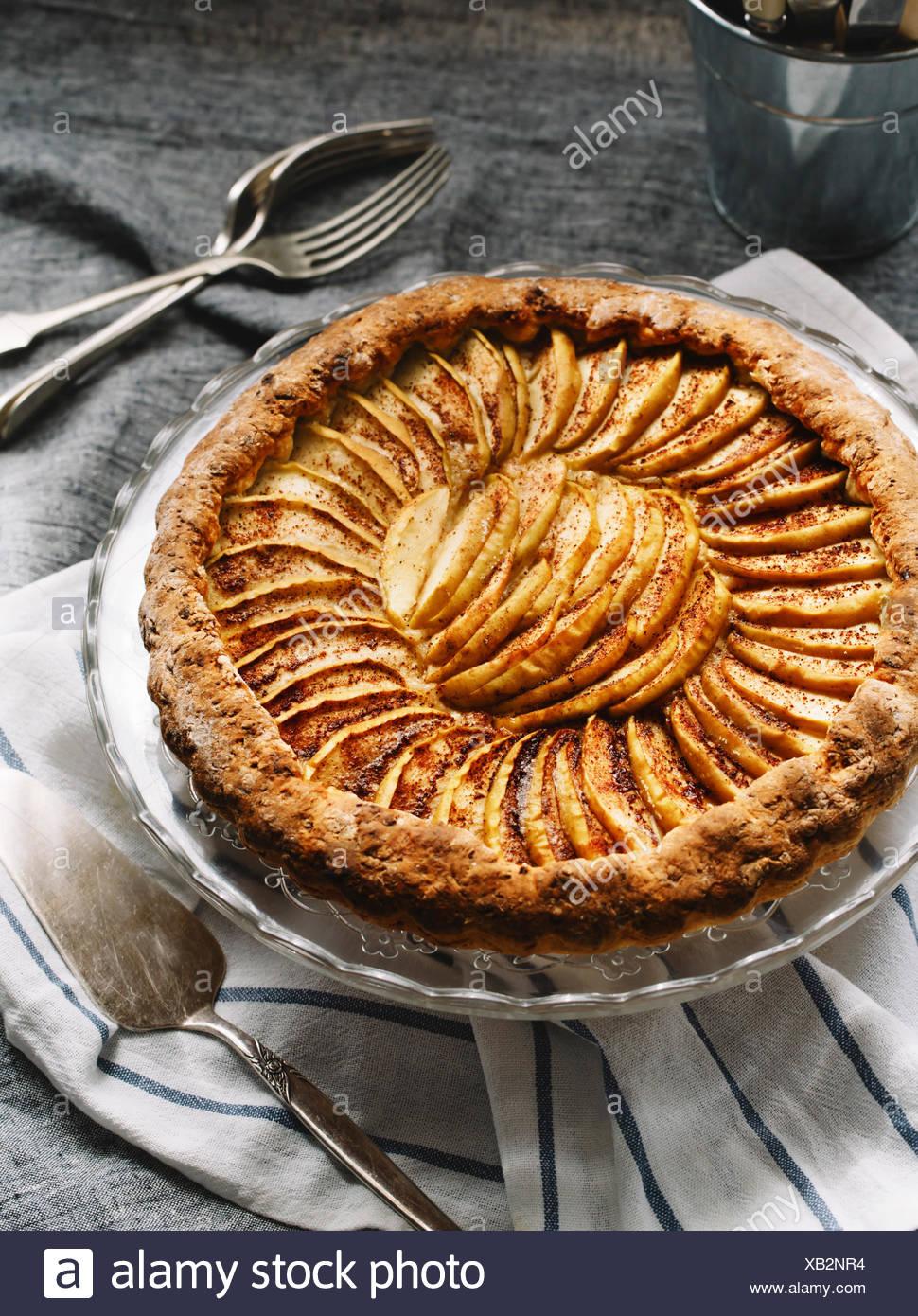 Draufsicht der leckeren Apfelkuchen Stockfoto