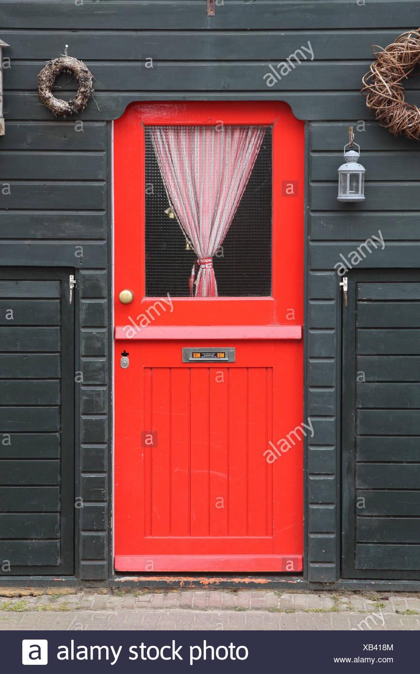Wohnhaus Detail Haustür Rot Insel Texel Stockfoto Bild