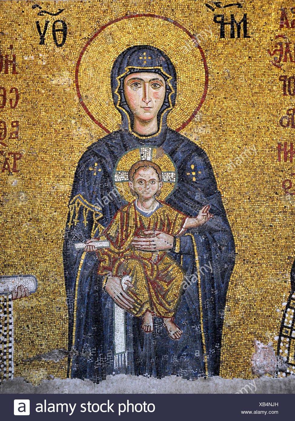 Mosaik, Jungfrau Maria, Muttergottes mit dem Jesuskind, Hagia Sophia, Ayasofya, Istanbul, Türkei Stockfoto