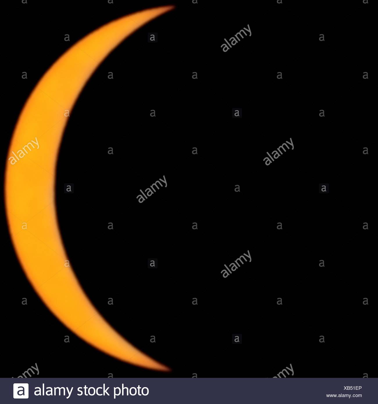 Kurz vor einer totalen Sonnenfinsternis von der Sonne Stockbild