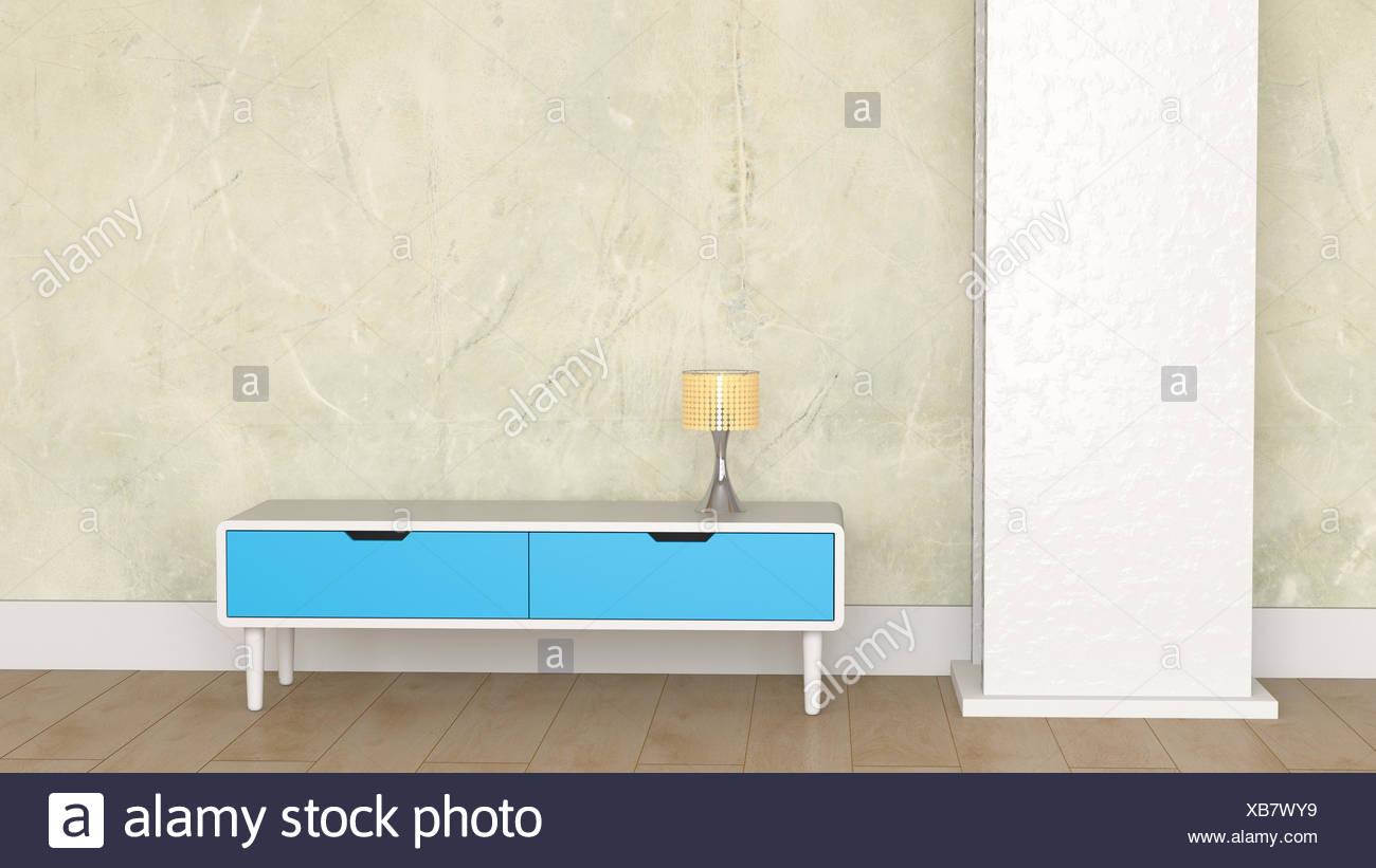 Loft Mit Lampe Auf Retro Stil Sideboard Stockfoto Bild 282301133