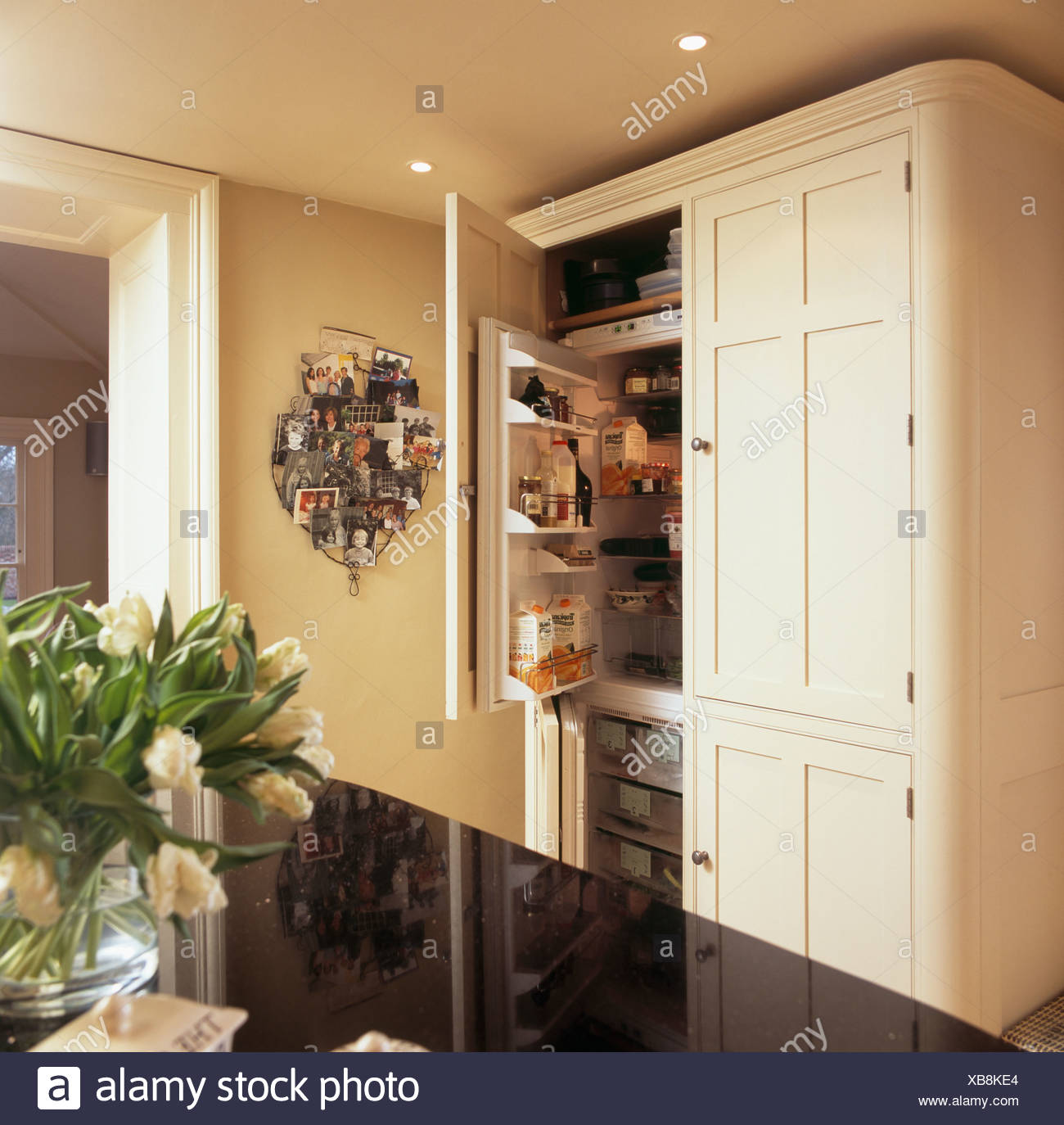 Neutraler Schrank Mit Eingebautem Kuhlschrank Und Gefrierschrank