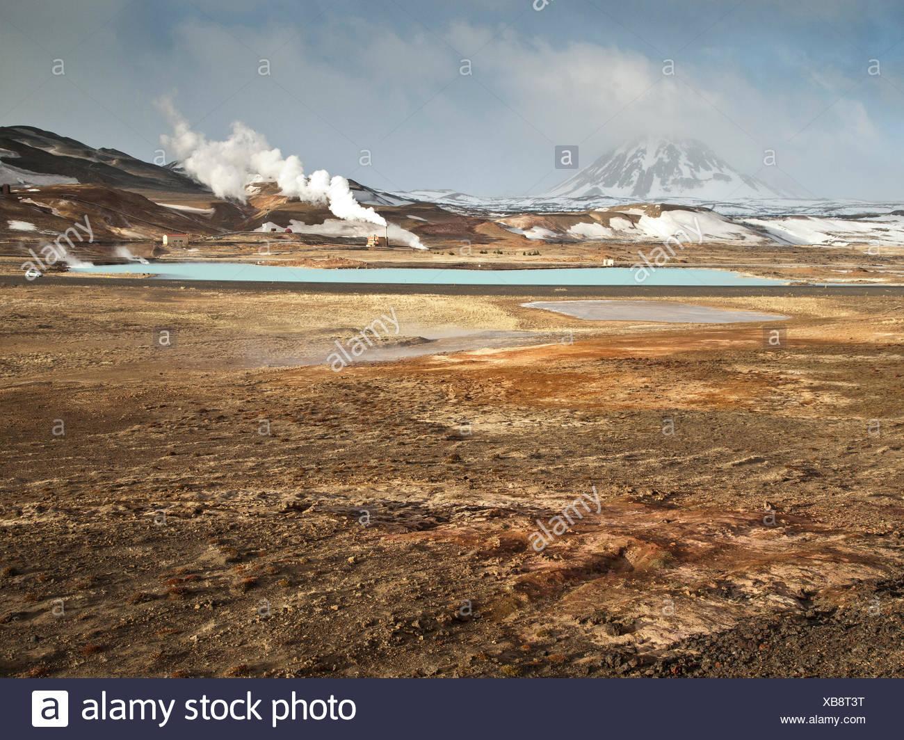 Dampf, Dunst, Erde Wärme, Island, Europa, Power station, Myvatn, Reykjahild, Therme, Wärme, Winter, Geothermie, Stockbild