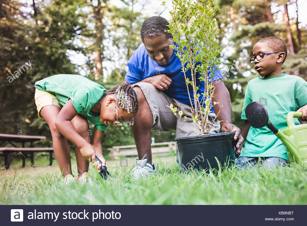 Vater eher Pflanzen mit Sohn und Tochter im Eco camp Stockbild