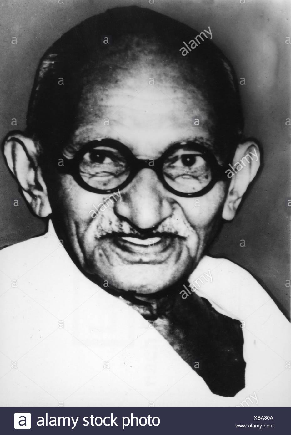 Gandhi, Mohandas Karamchand genannt Mahatma, 2.10.1869 - 30.1.1948, indischer Politiker, Porträt, 1930er Jahre, Stockfoto