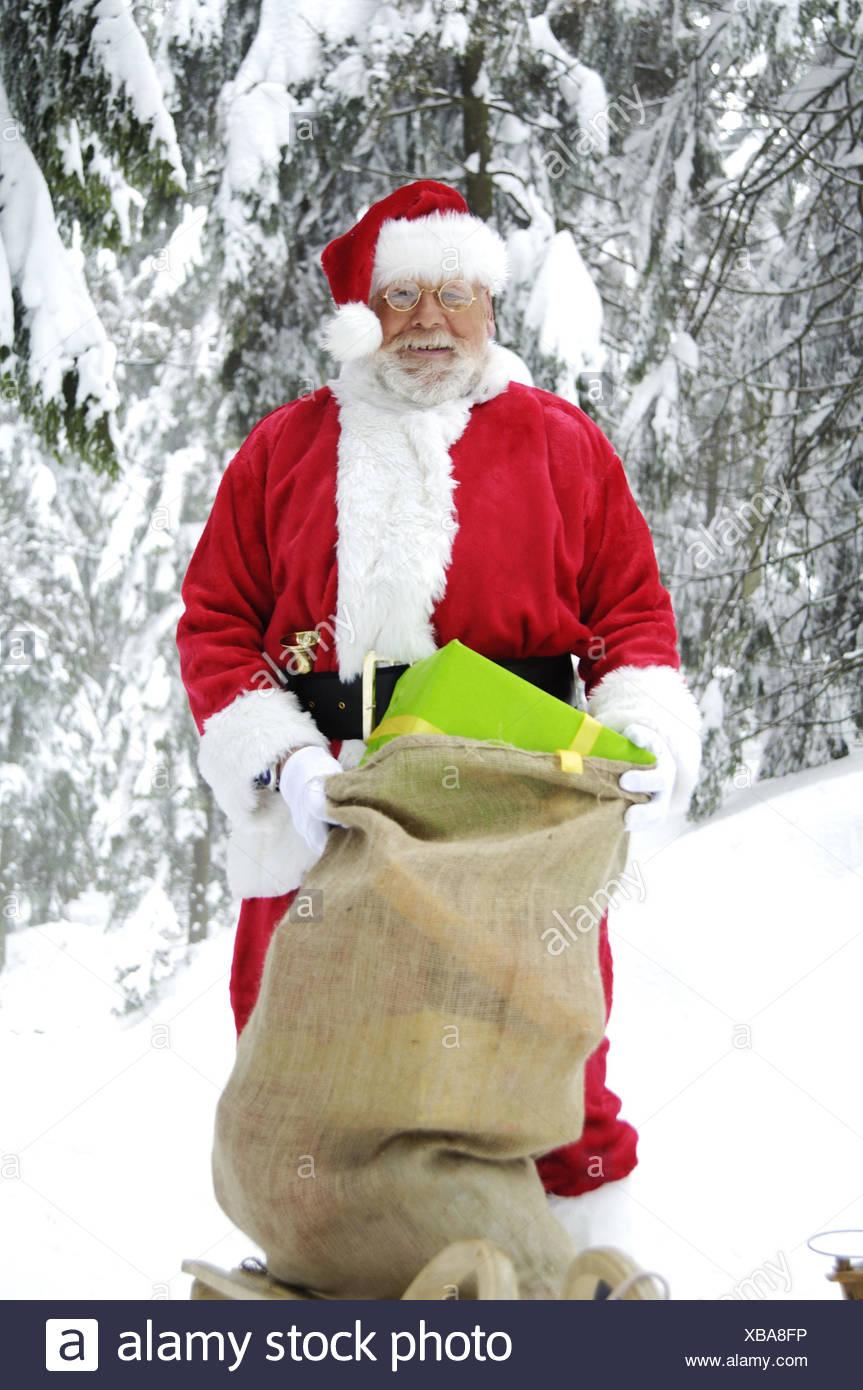 Winter Holz, Santa Claus, Folie, Beutel, Geschenke, Weihnachten ...