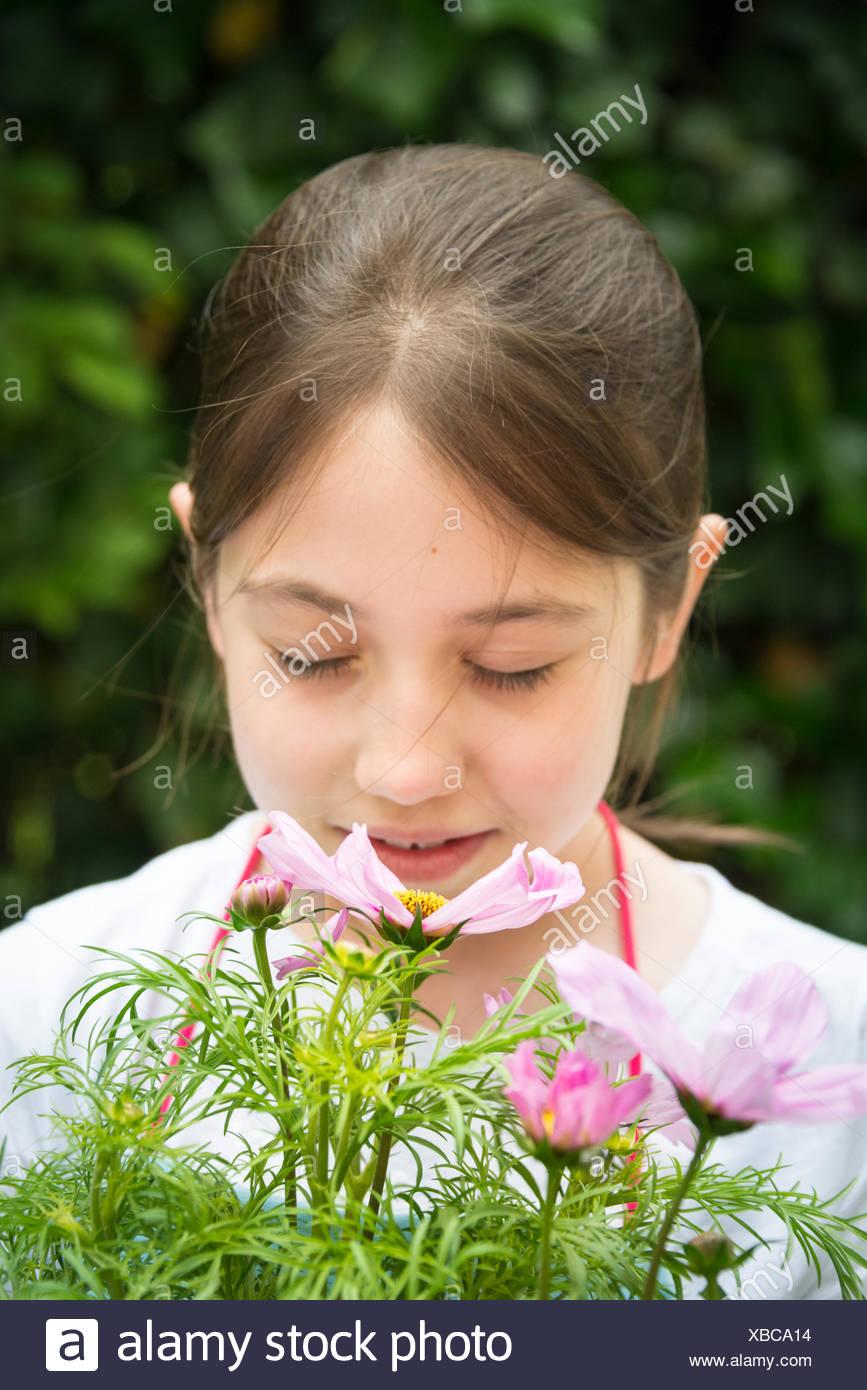 Mädchen mit braunen Haaren, die Blumen riechen Stockbild