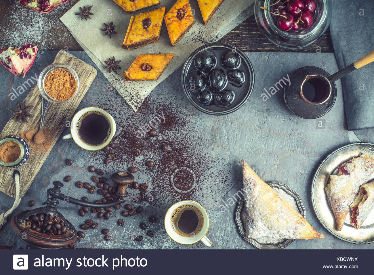 Konzept der horizontalen orientalisches dessert Stockbild