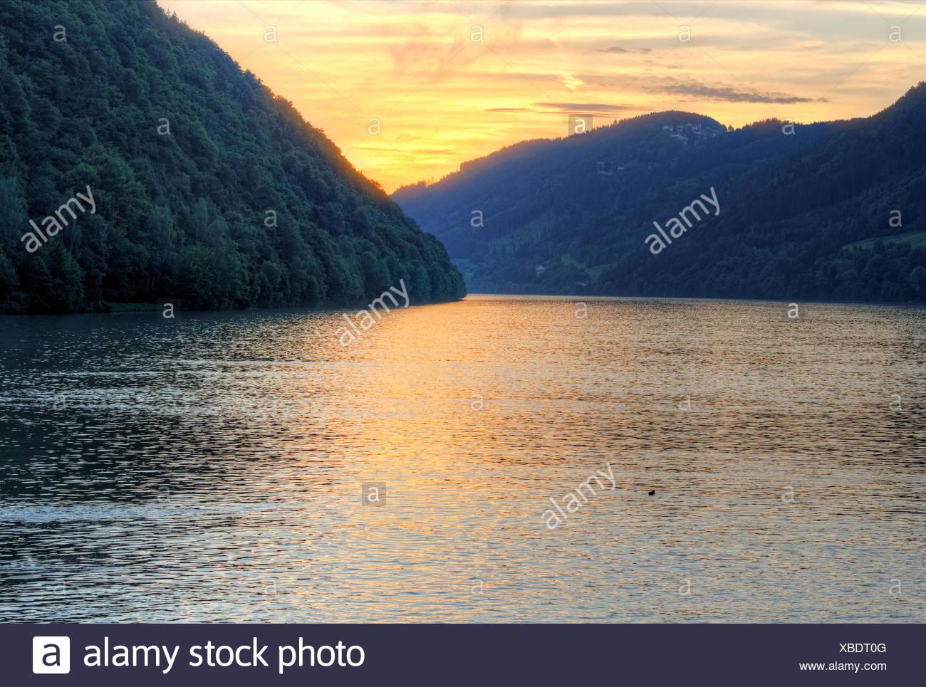 Abend auf der Donau, Schloegen Schleife, Region Hausruckviertel, Oberösterreich, Österreich Stockbild
