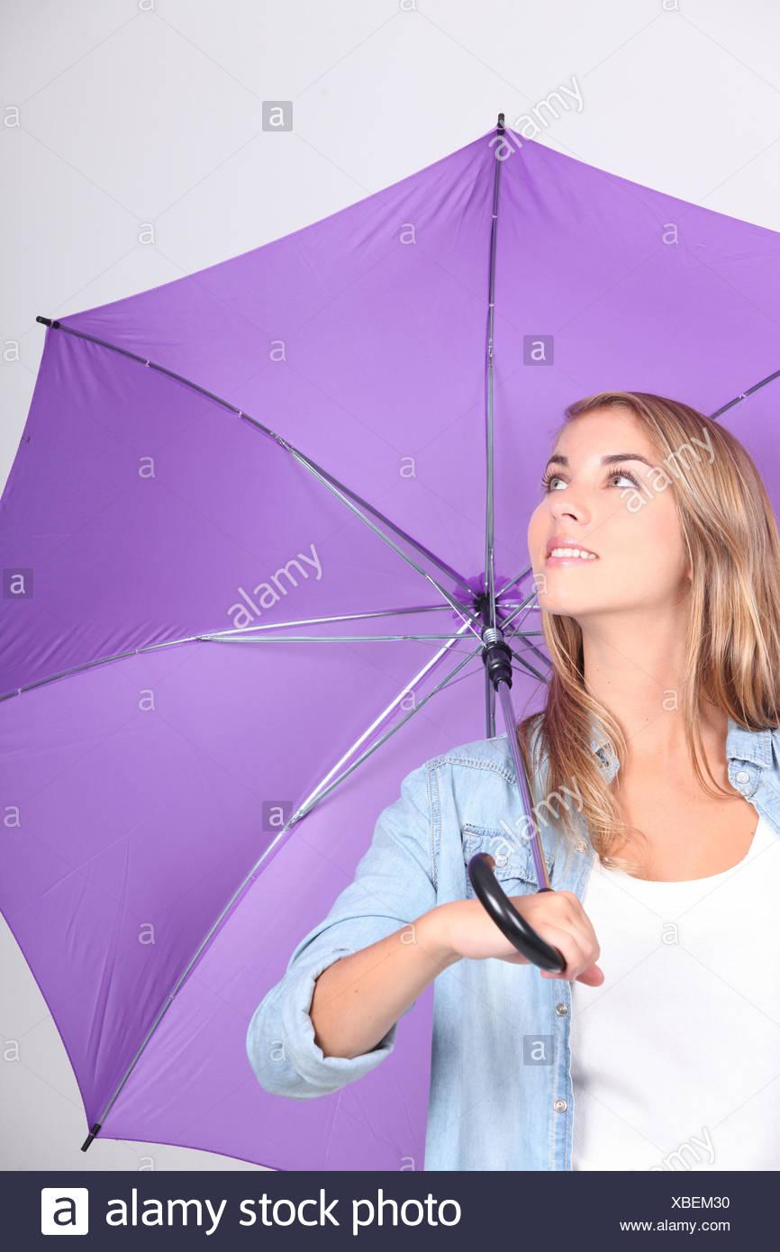 Farbe Regenschirm Lila öffnen Entdeckeln Farbe Hell Frau