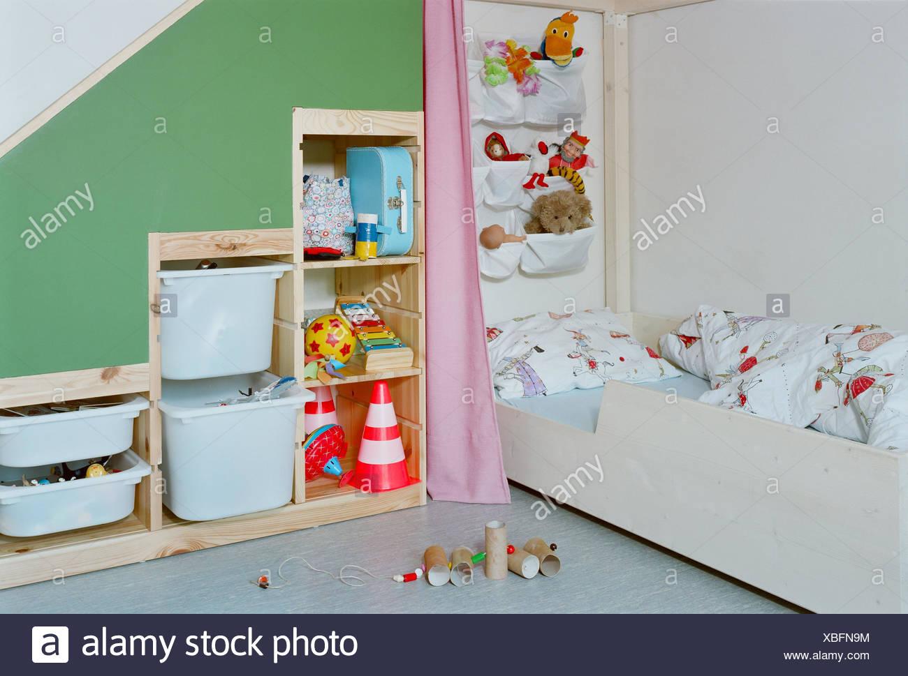 Kinderzimmer, Bett, Regal, Spielzeug, Zimmer, Kind ...