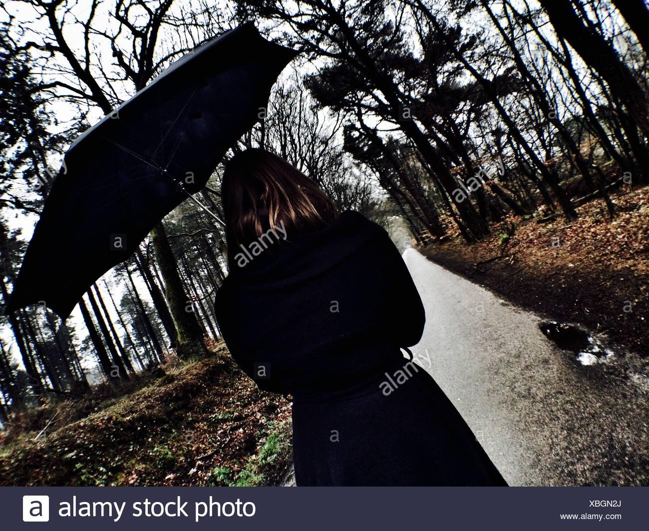 Rückansicht des Frau mit Regenschirm zu Fuß auf Weg inmitten von Bäumen Stockbild