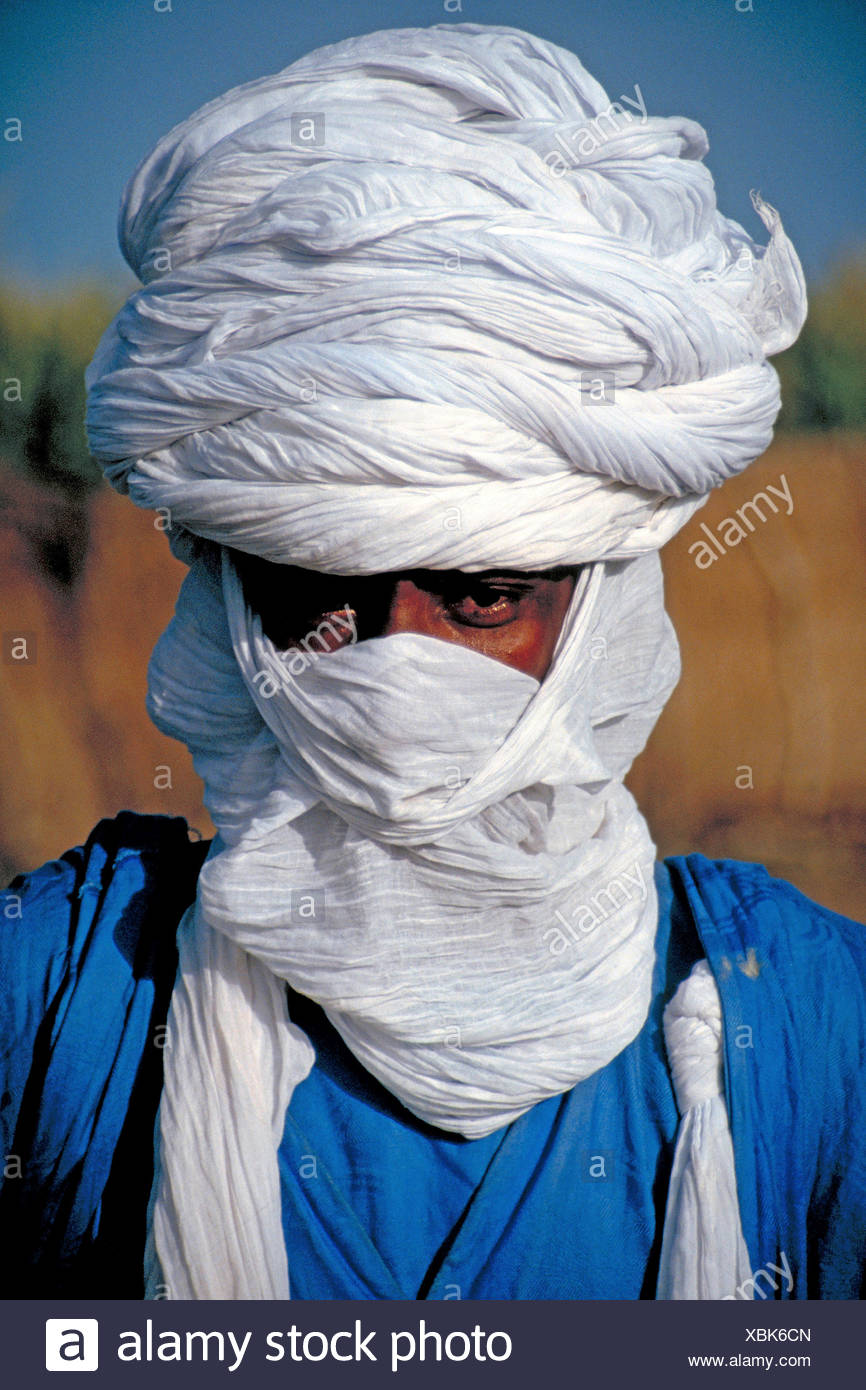 Tuareg-Mann mit weißen Tagelmust, Mali Stockbild