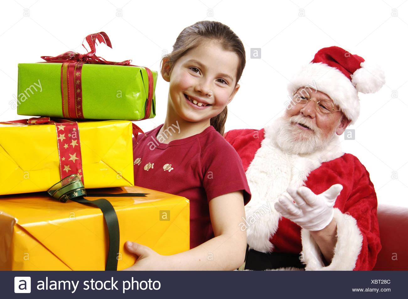 Santa Claus, Mädchen, Geschenke, Vertrieb Geschenke, glücklich ...