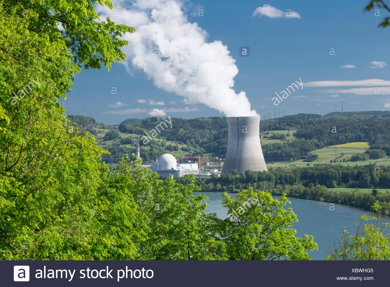 Atomkraftwerk, Kernkraftwerk, KKW, Leibstadt, Energie, Kanton, AG, Aargau, Schweiz, Europa, Stockbild