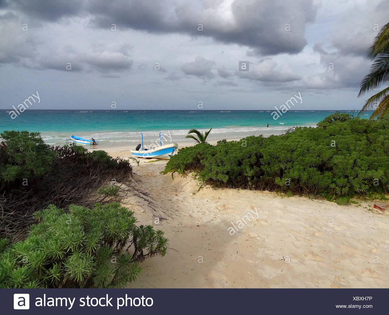 tropischer Strand Landschaft im Playa Paraiso in Mexiko Stockbild