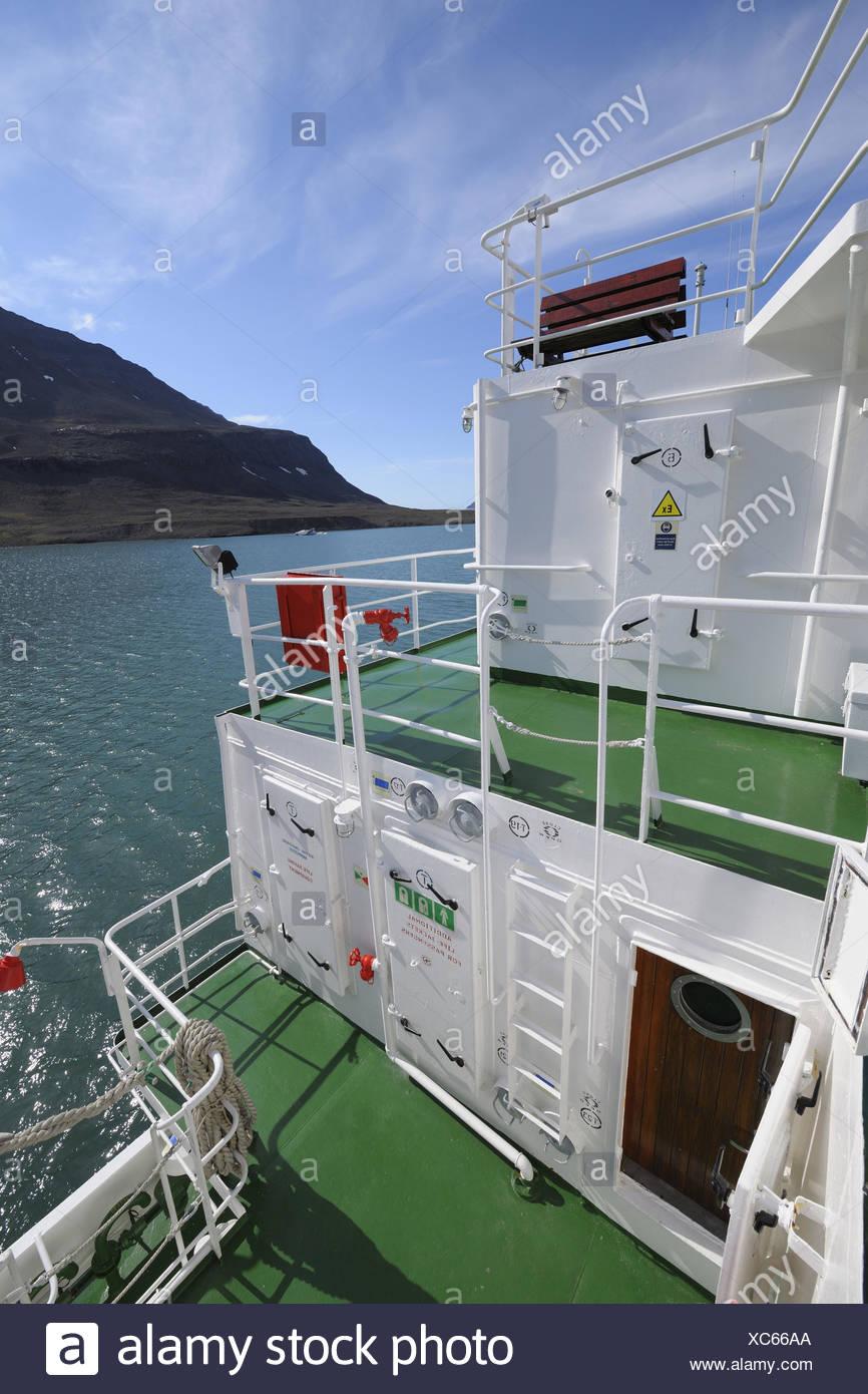 Expeditionsschiff, Detailansicht, Romer Fjord, Grönland, Arktis, Stockbild