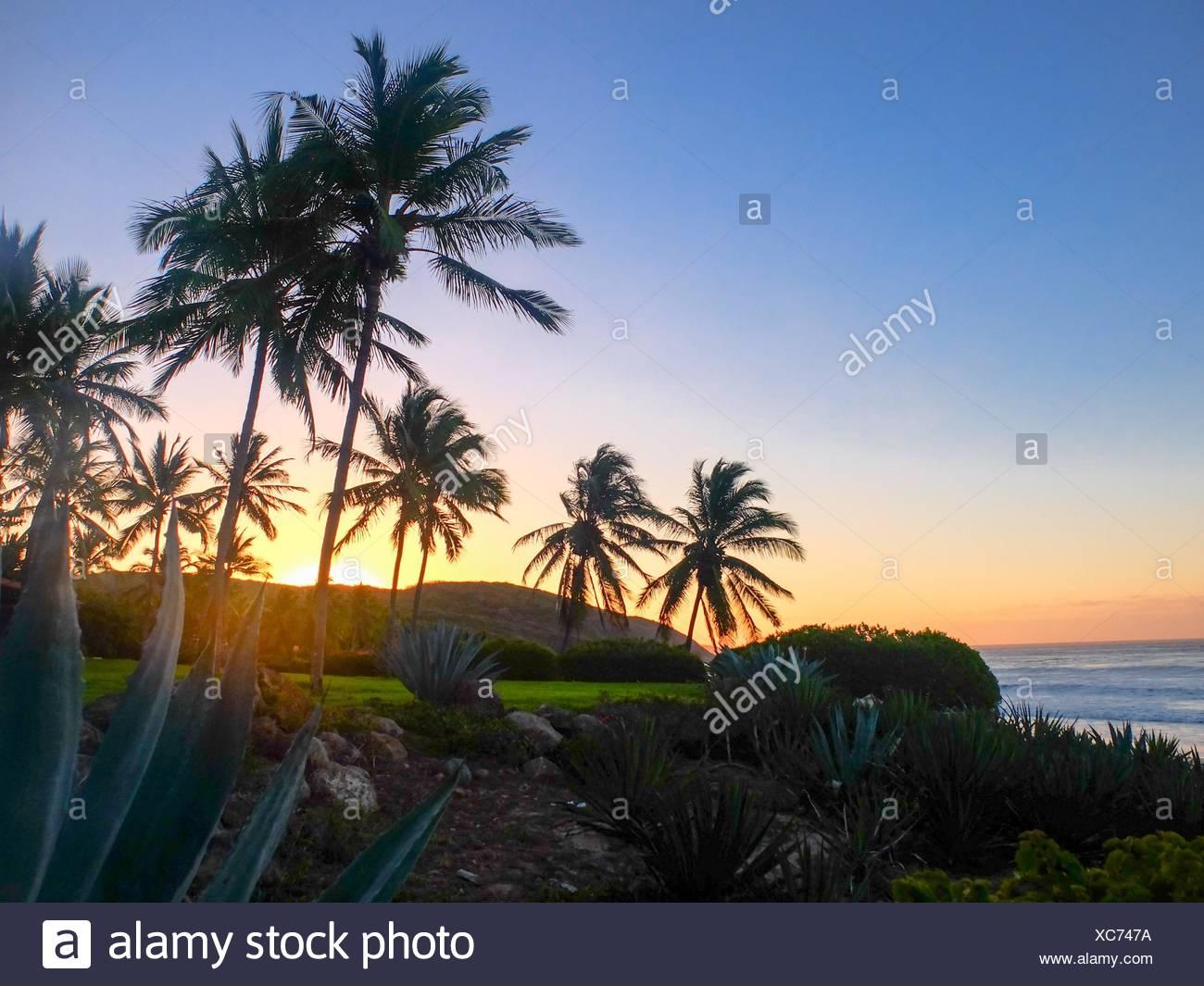 Sonnenuntergang über dem Pazifik, Jalisco, Mexiko Stockbild