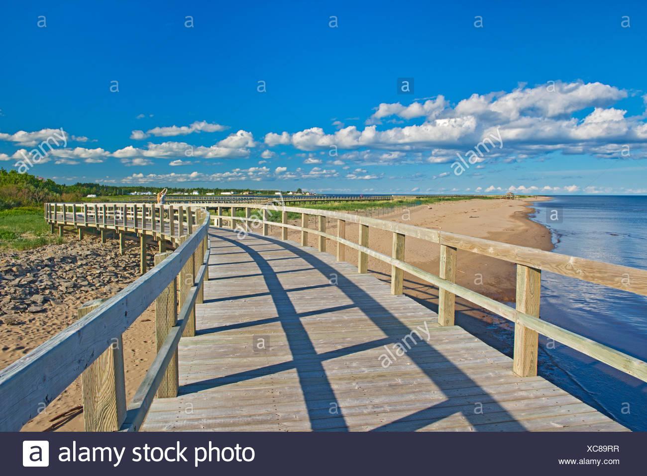 Boardwalk und Sanddünen und Strände bei Irving eco-Center, bouctouche, New Brunswick, Kanada Stockbild