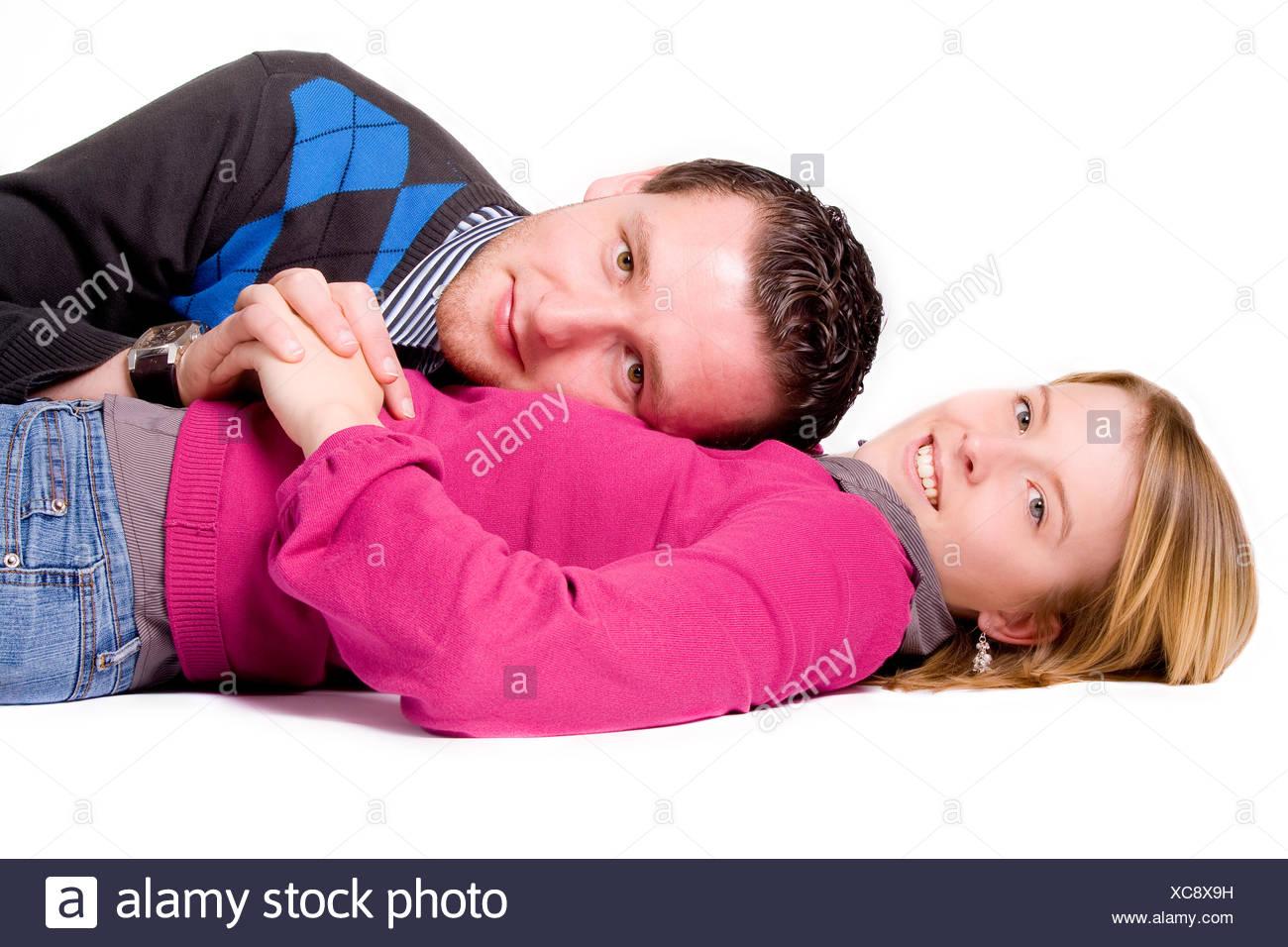 Legen Sie hin - Mädchen unter Stockbild