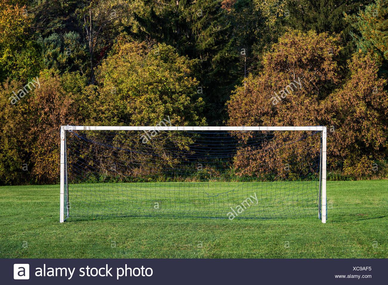Fußballplatz und Ziel. Stockfoto