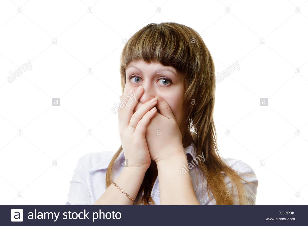 verängstigte junge Frau Stockbild