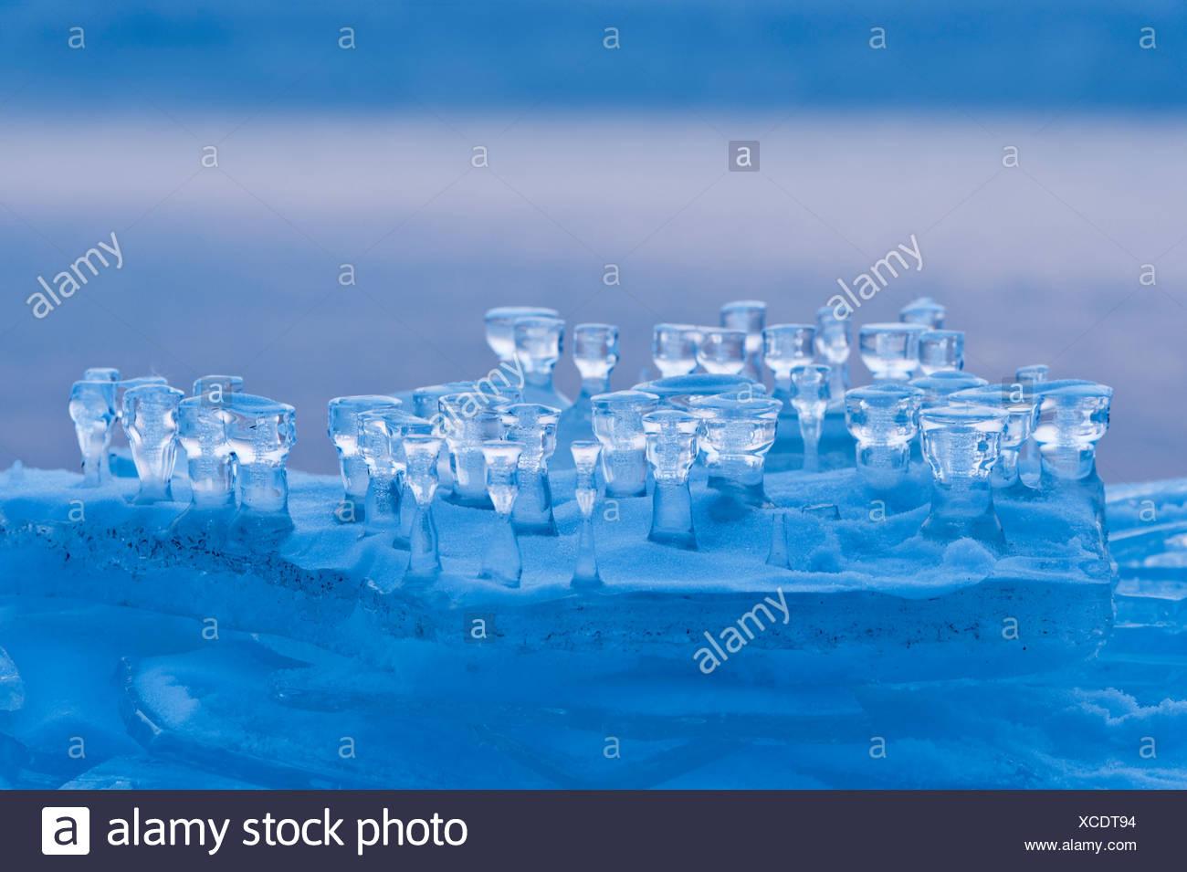 Eisbildung auf einer Eisscholle Stockfoto