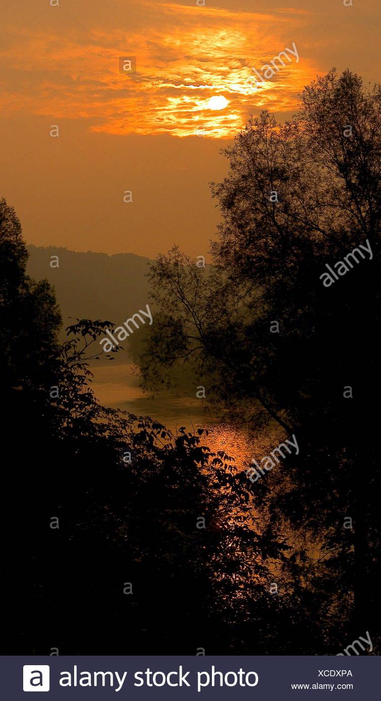 Sonnenuntergang, Romantik, Wald, Fluss, Wasser, Natur, Burghausen, salzach Stockbild
