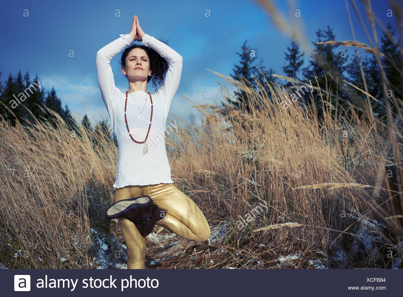 Mitte Erwachsene Frau stehenden Baum-Yoga-Pose im Wald zu tun Stockbild