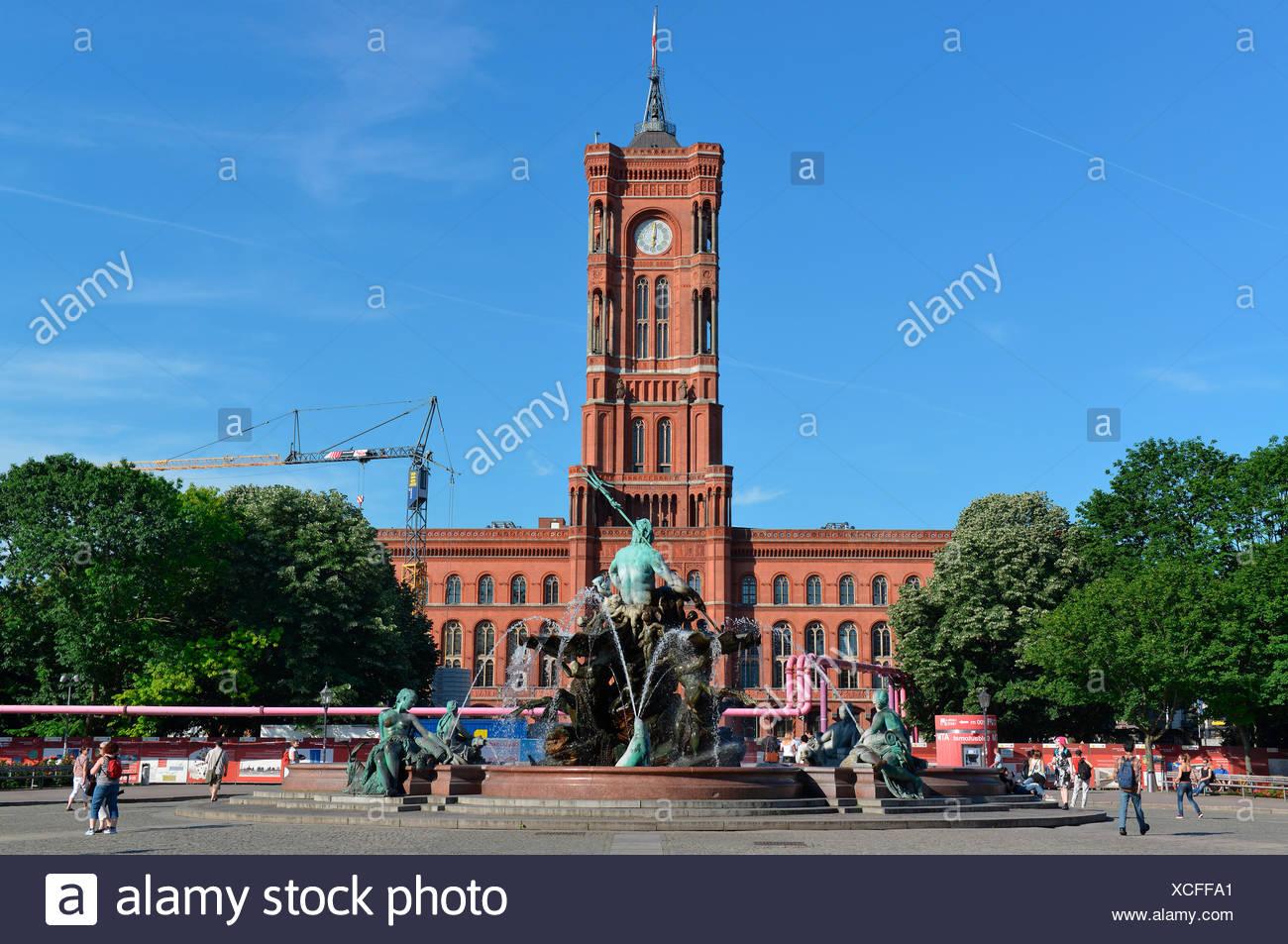 Rotes Rathaus, Rathausstraße, Mitte, Berlin, Deutschland Stockbild