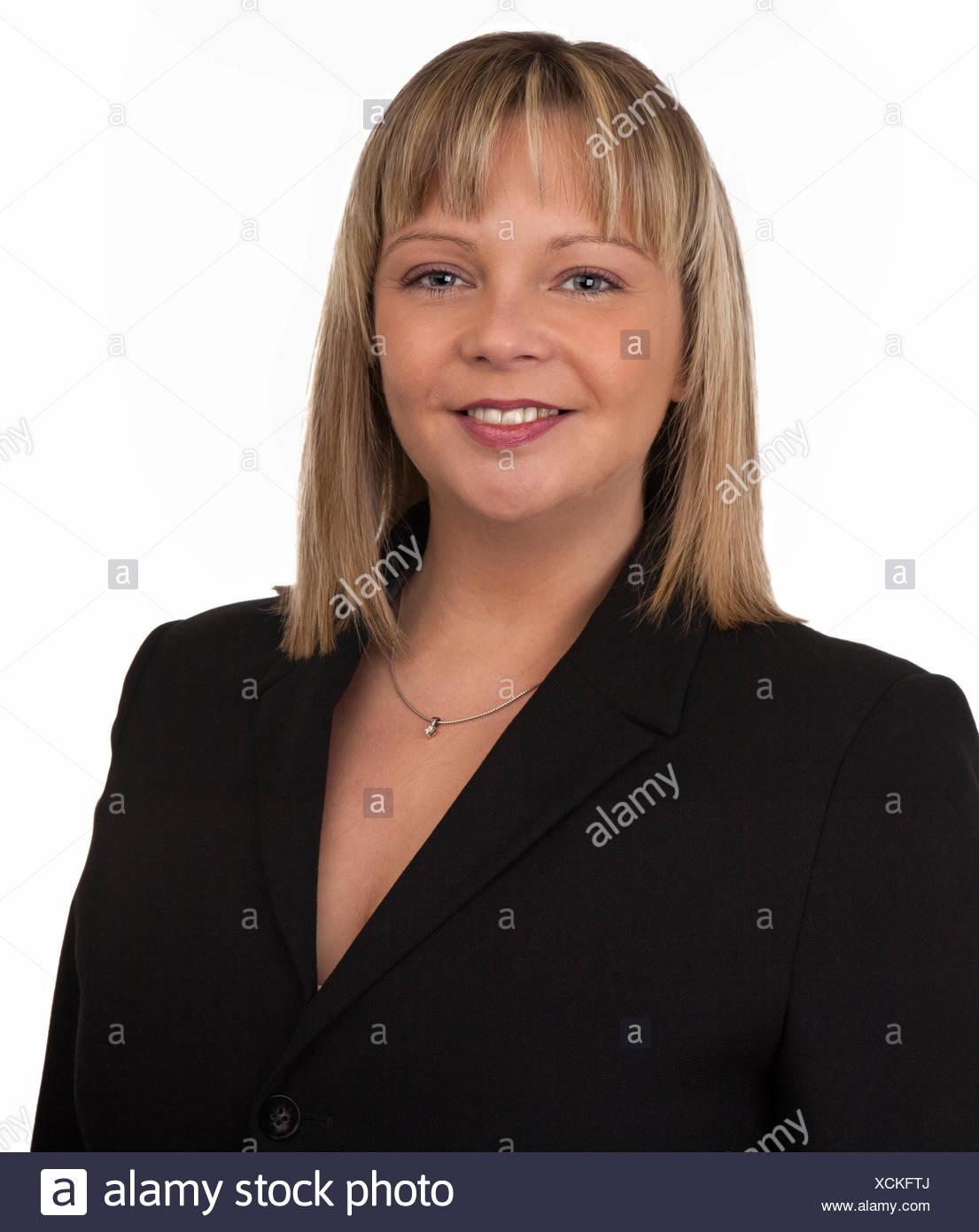 Frau Dame weiblichen dreißiger Jahre zwanziger Jahre blond dapper anzureden ziemlich hübsch Stockbild