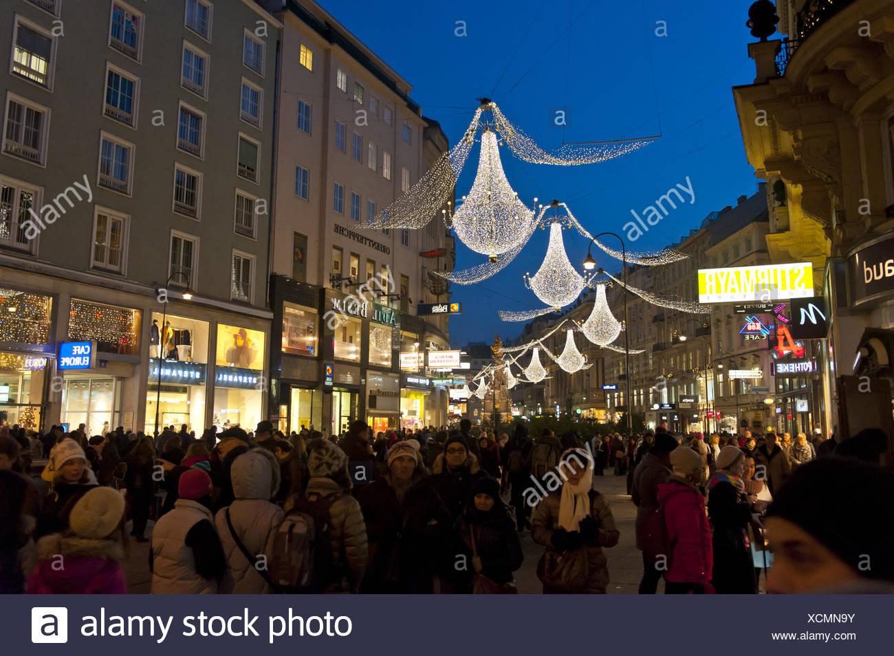 Weihnachtsbeleuchtung, Graben, 1010 Wien, Österreich Stockbild