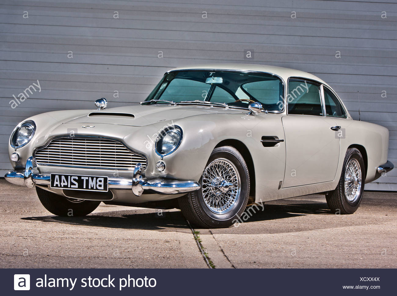 Aston Martin DB5, James Bond Oldtimer Stockbild