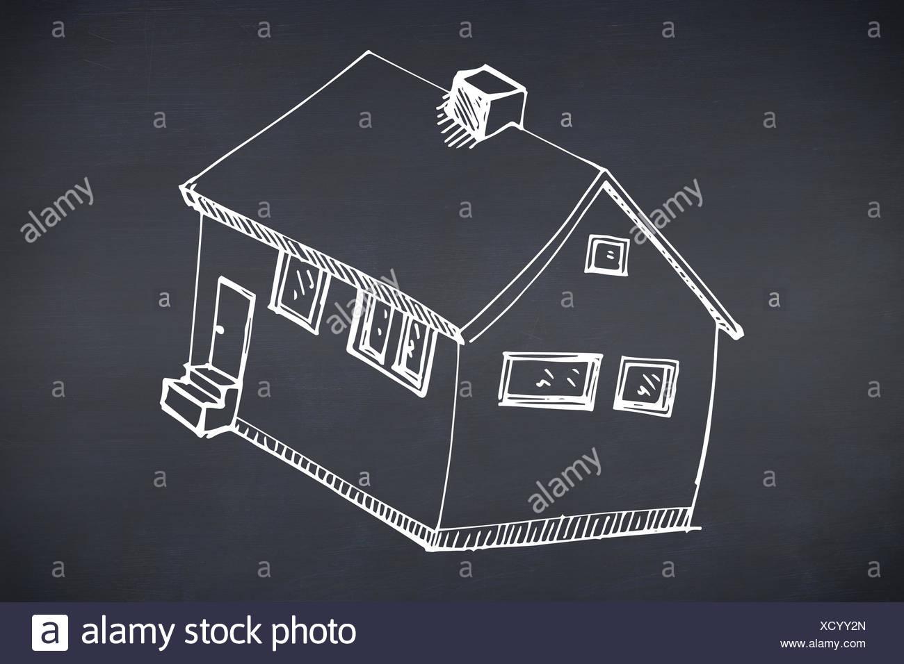 Zusammengesetztes Bild von hand gezeichnete Haus Stockbild