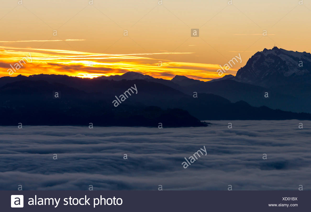 Sonnenuntergang über dem Rheintal, Säntis, Nebel, Sonne Stockbild