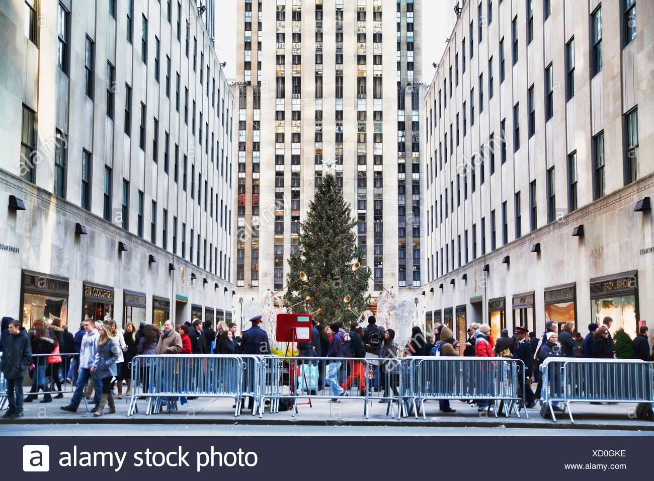 Weihnachtsbaum Rockefeller Center.Menschen An Den Weihnachtsbaum Rockefeller Plaza Rockefeller