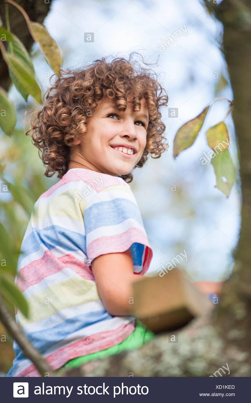 Junge sitzt auf Baum Stockfoto
