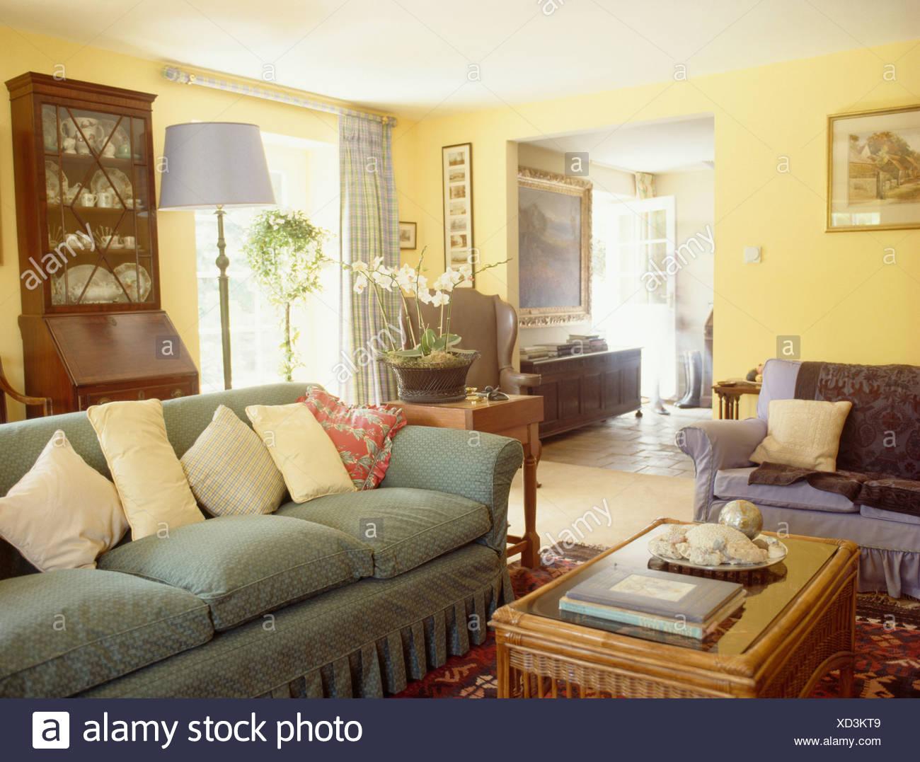 Pastelle gelbe kissen auf blasse gr ne sofa in gelb land for Tur mit scheckkarte offnen