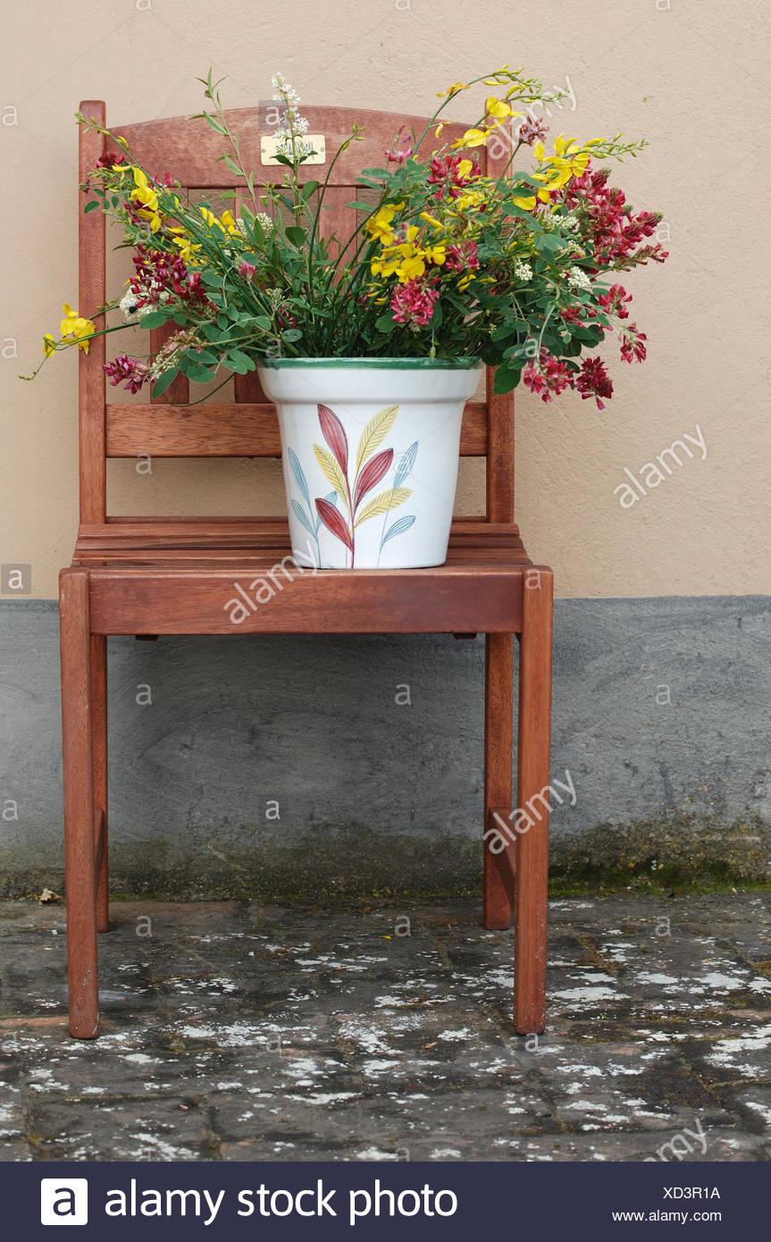 Holz Blume Blumen Pflanzen Wand Dekoration Besen Stuhl Vase Grün