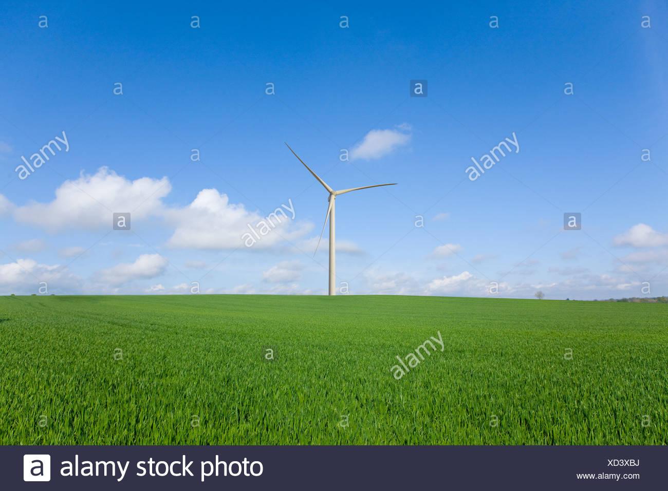 Windkraftanlage in entfernten grünen Wiese Stockbild
