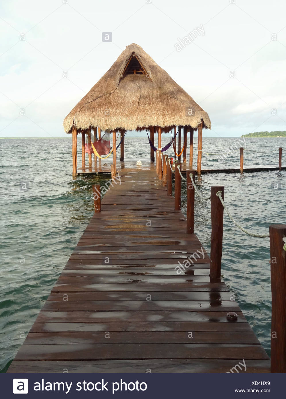 Idyllische Pier in der Lagune von Bacalar in Mexiko Stockbild
