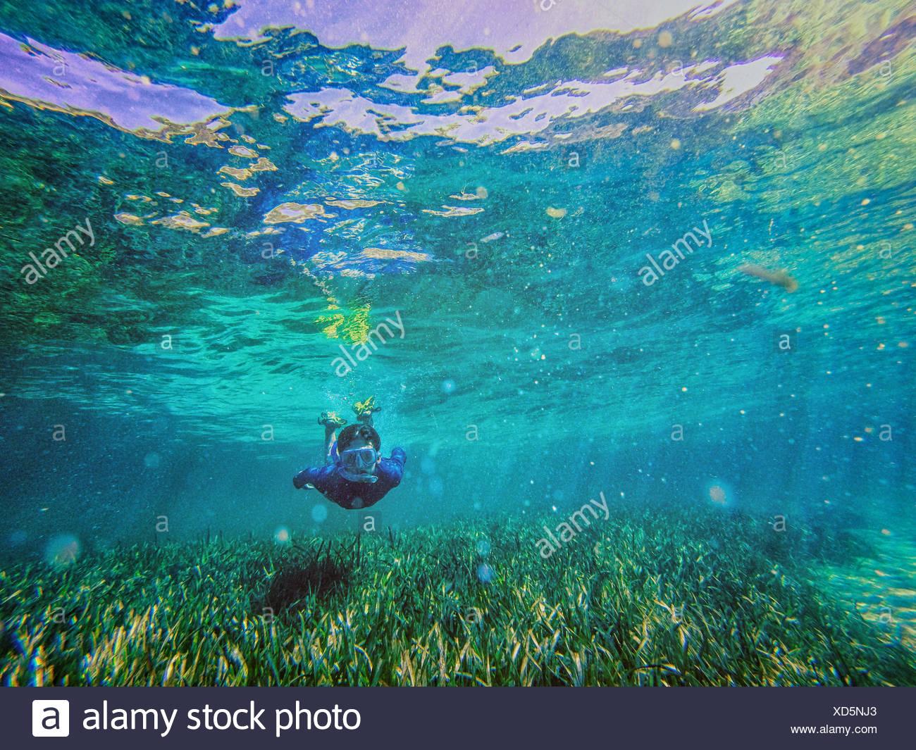 Teenager-Jungen schwimmen mit Schnorchel unter Wasser, Rottnest, Australien Stockbild