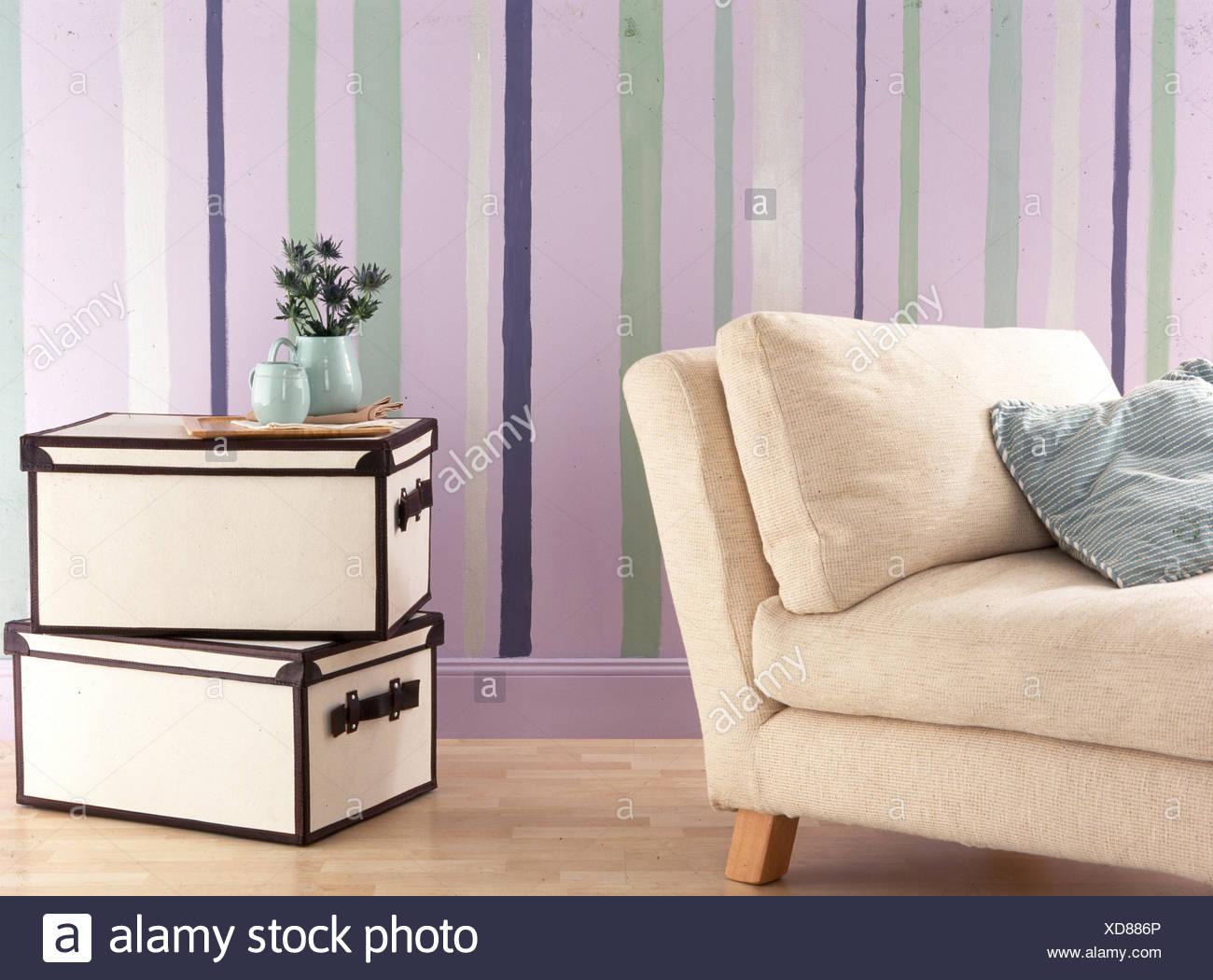 Streifen Bemalte Wand Wohnzimmer Mit Speicherkästen Und Cremefarbenen Sofa