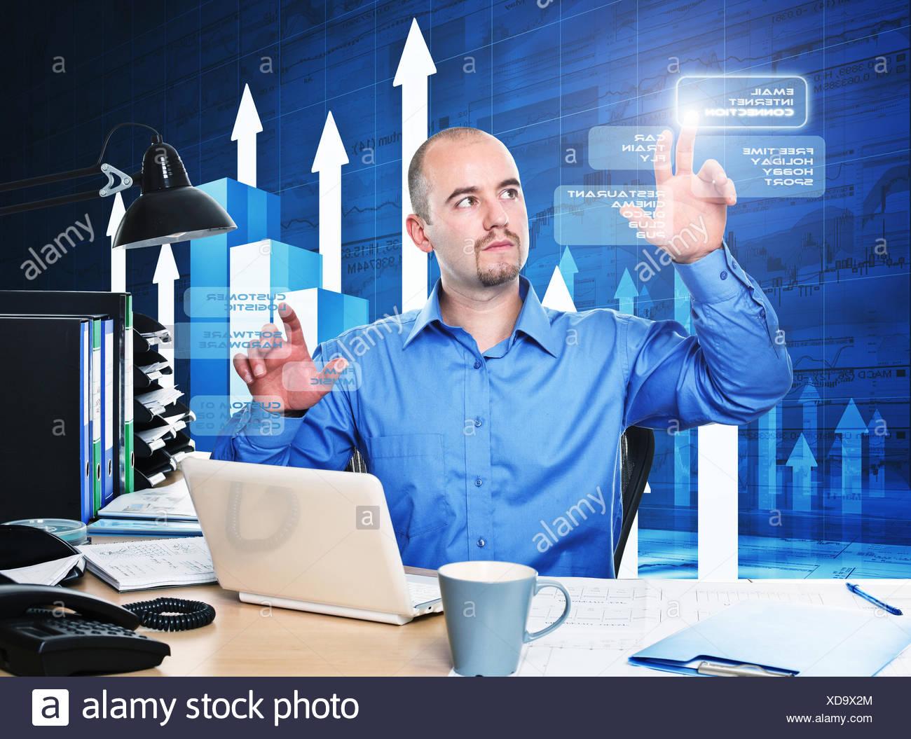 Verbindung im Büro Stockbild