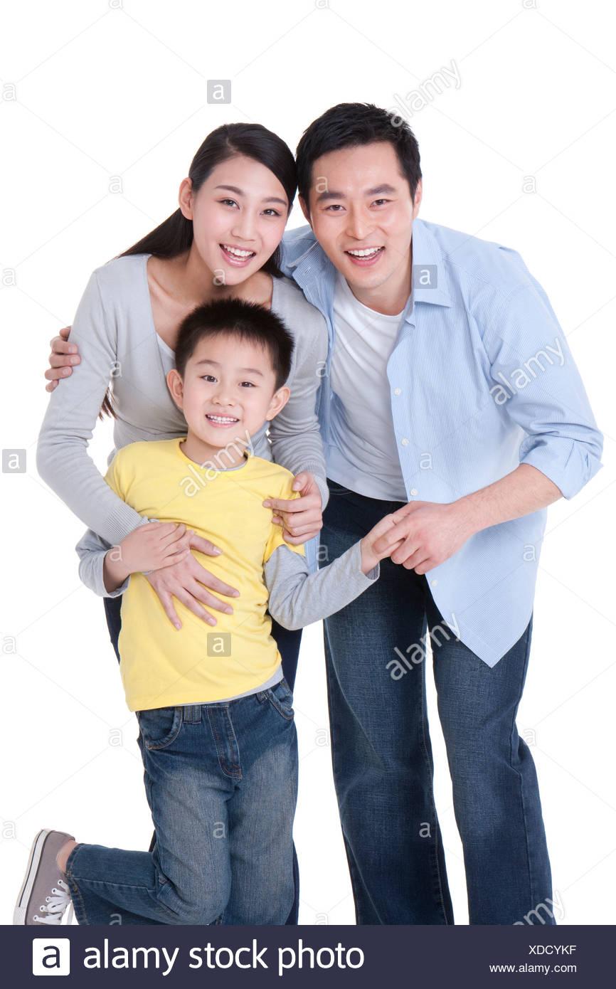 Porträt einer glücklichen Familie Stockbild