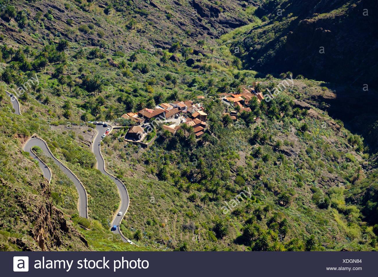 Dorf Masca, Masca-Schlucht, Teno-Gebirge, Parque Rural de Teno, Teneriffa, Kanarische Inseln, Spanien Stockbild
